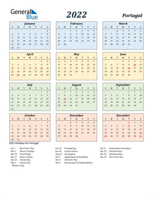 Portugal Calendar 2022