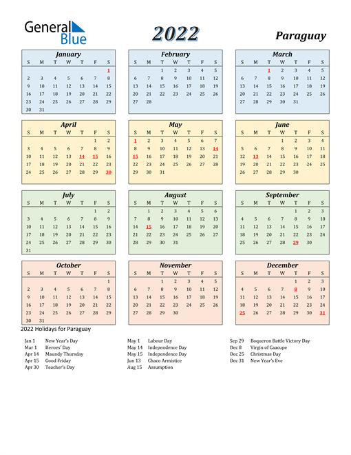 Paraguay Calendar 2022