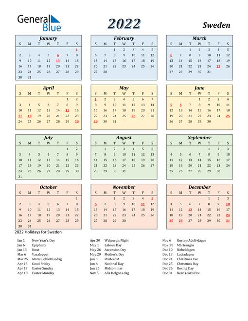 Sweden Calendar 2022