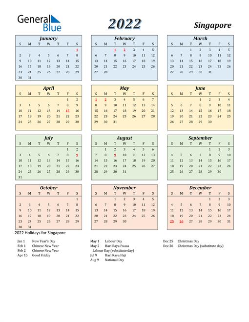 Singapore Calendar 2022