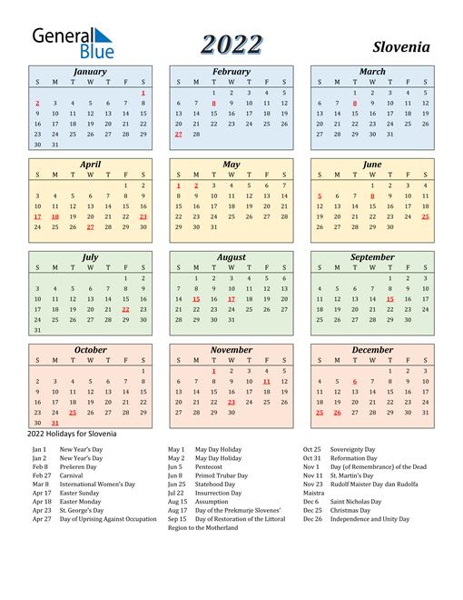 Slovenia Calendar 2022