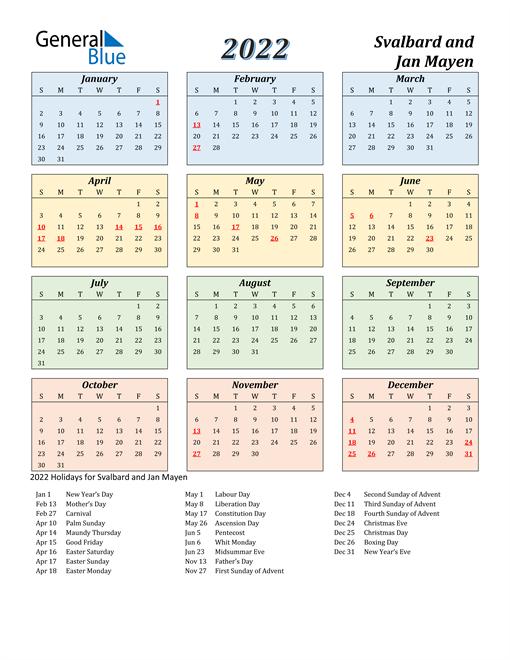 Svalbard and Jan Mayen Calendar 2022