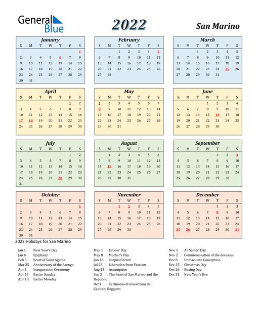 San Marino Calendar 2022