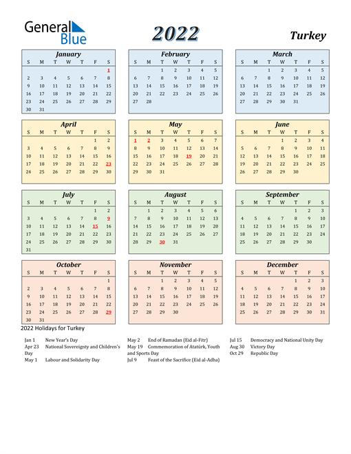 Turkey Calendar 2022