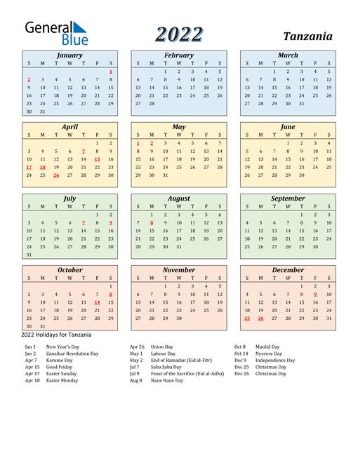 Tanzania Calendar 2022
