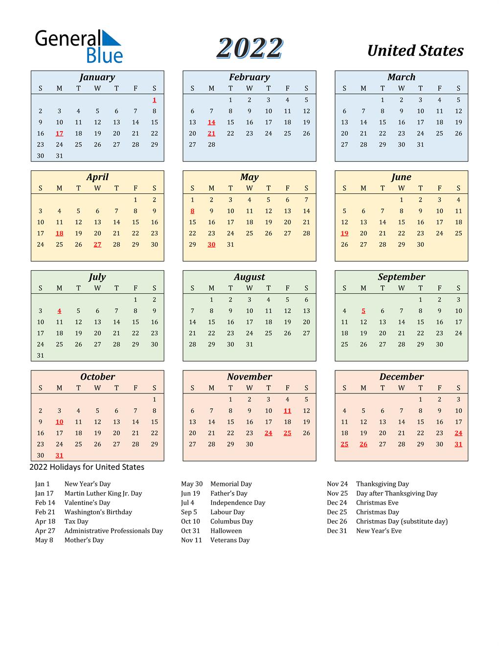 Calendar 2022 Usa.2022 United States Calendar With Holidays