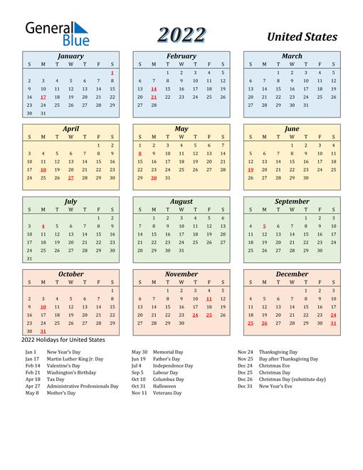 United States Calendar 2022