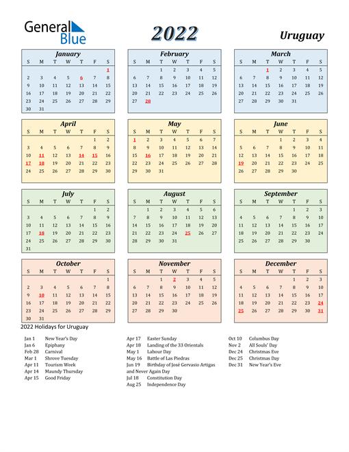 Uruguay Calendar 2022