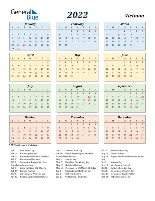 Vietnam Calendar 2022