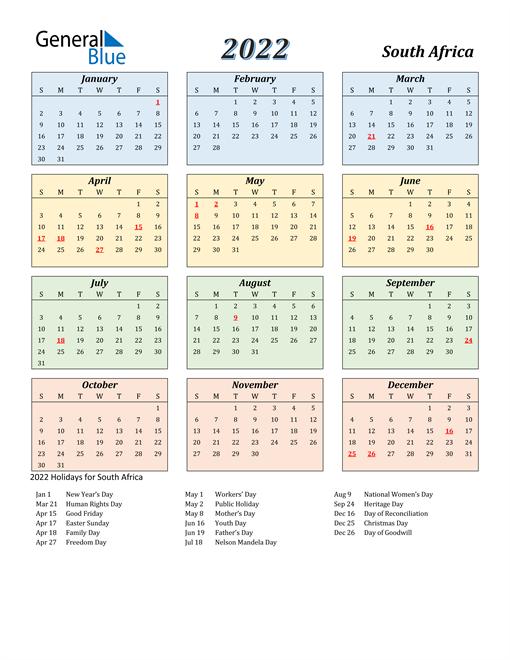 South Africa Calendar 2022