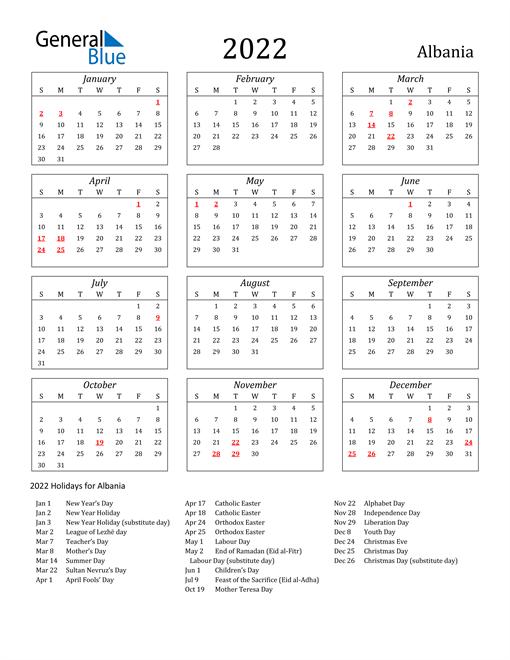 2022 Albania Holiday Calendar