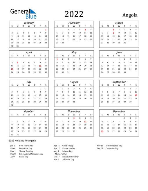 2022 Angola Holiday Calendar