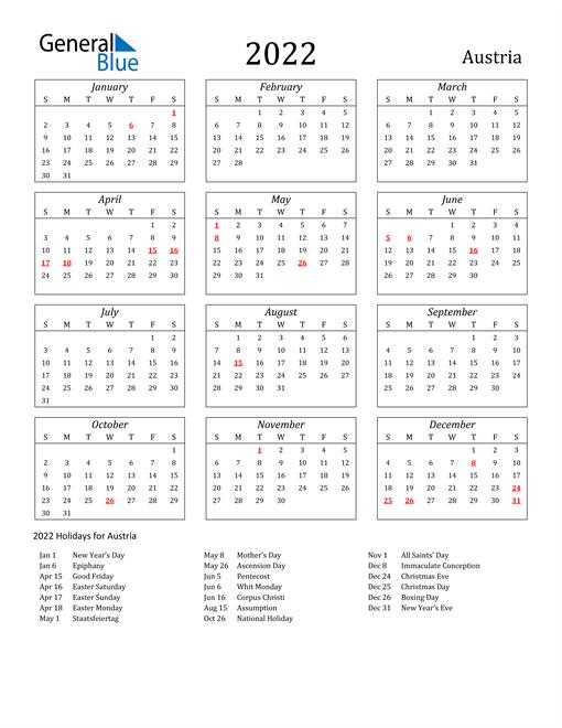 2022 Austria Holiday Calendar