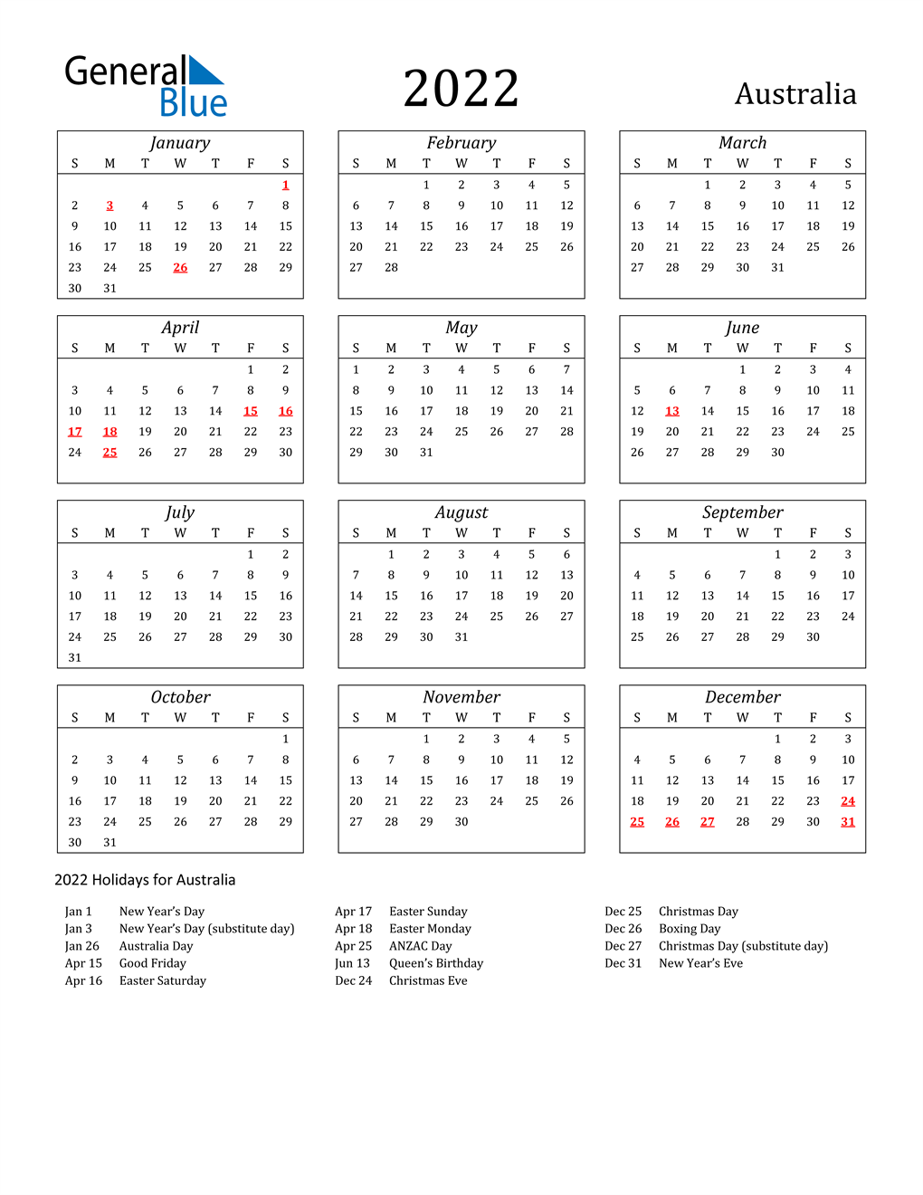 2022 Downloadable Calendar.2022 Australia Calendar With Holidays