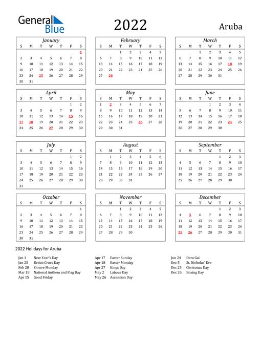 2022 Aruba Holiday Calendar
