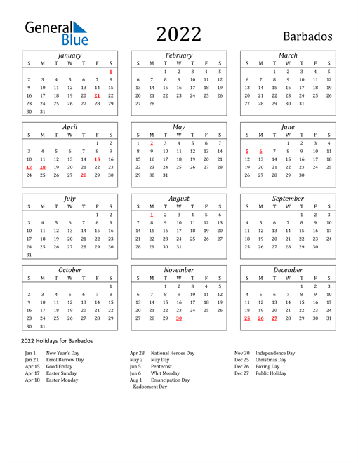2022 Barbados Holiday Calendar
