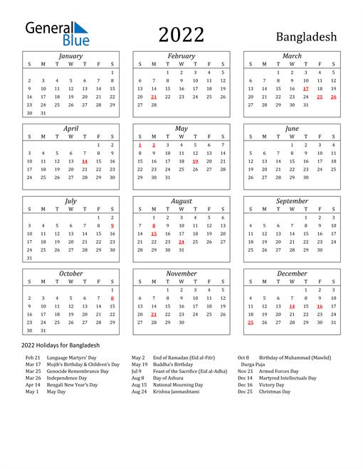 2022 Bangladesh Holiday Calendar