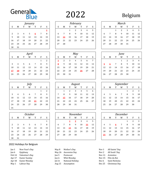 2022 Belgium Holiday Calendar
