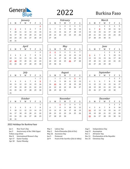 2022 Burkina Faso Holiday Calendar