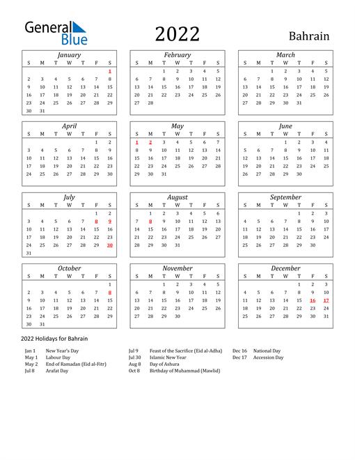 2022 Bahrain Holiday Calendar