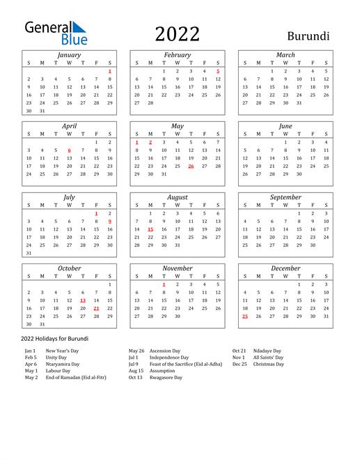 2022 Burundi Holiday Calendar