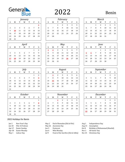 2022 Benin Holiday Calendar