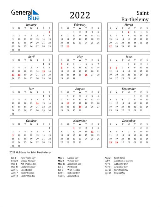 2022 Saint Barthelemy Holiday Calendar