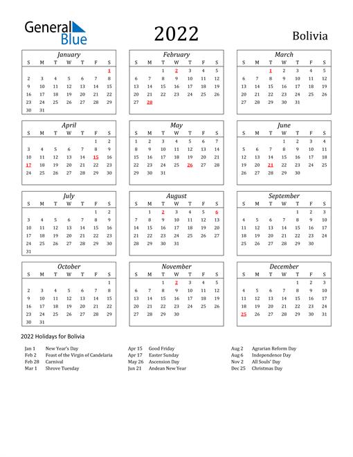 2022 Bolivia Holiday Calendar