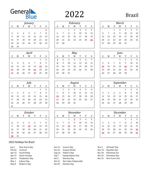 2022 Brazil Holiday Calendar