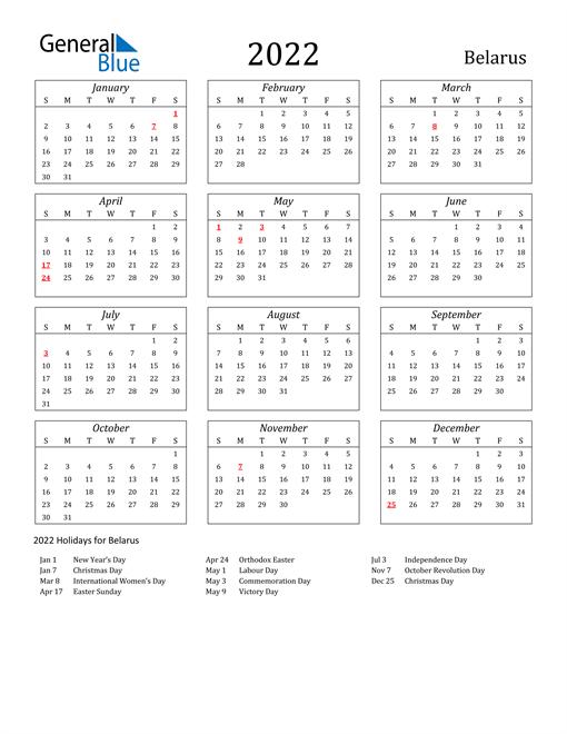 2022 Belarus Holiday Calendar