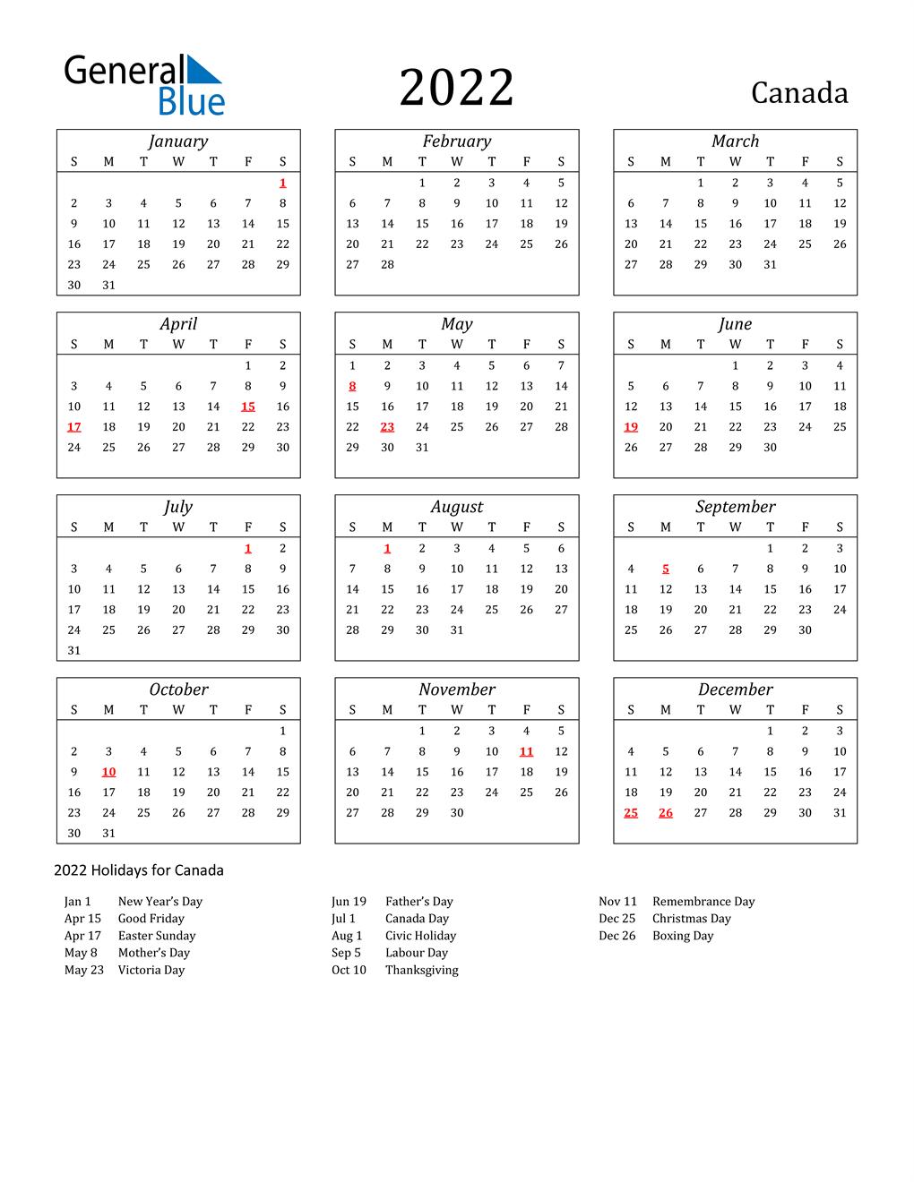 Time And Date Calendar 2022.2022 Canada Calendar With Holidays