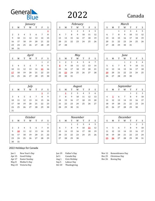 2022 Canada Holiday Calendar