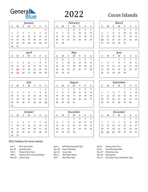 2022 Cocos Islands Holiday Calendar