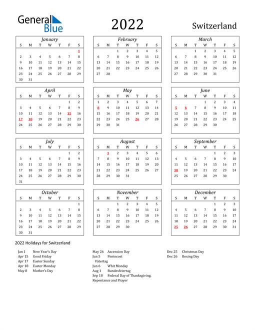 2022 Switzerland Holiday Calendar