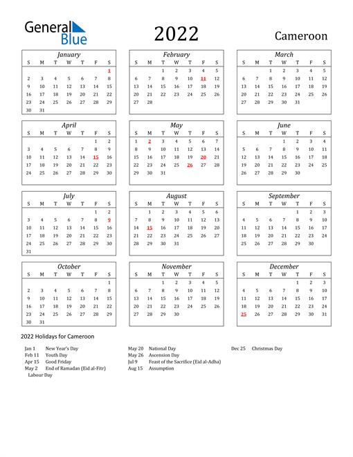 2022 Cameroon Holiday Calendar