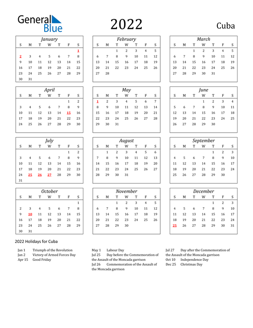 2022 Cuba Holiday Calendar