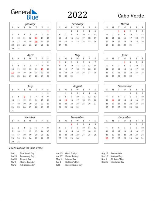 2022 Cabo Verde Holiday Calendar