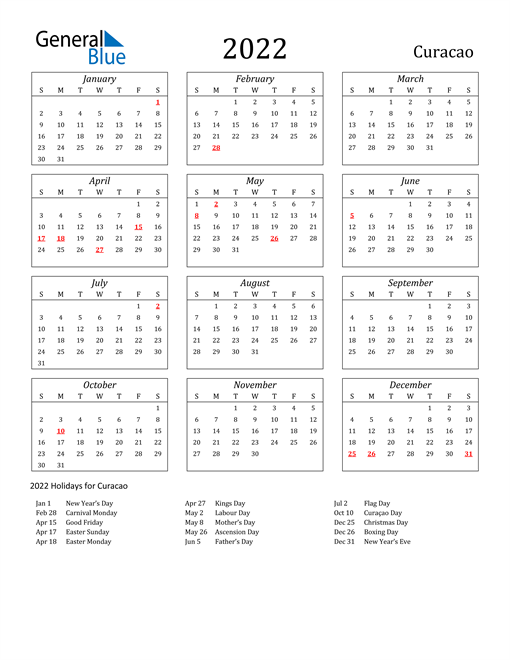 Image of Curacao 2022 Calendar Streamlined Version with Holidays
