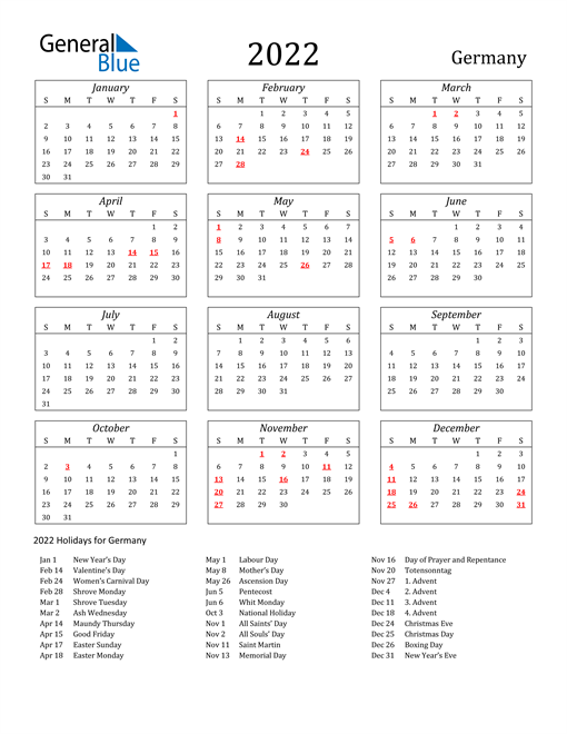 2022 Germany Holiday Calendar