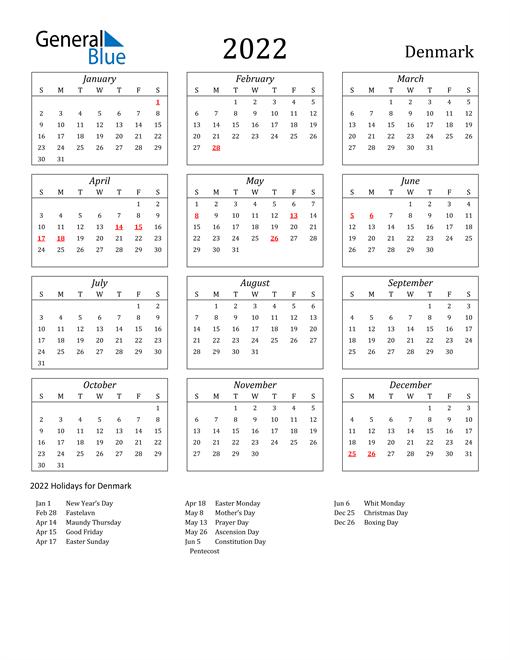2022 Denmark Holiday Calendar