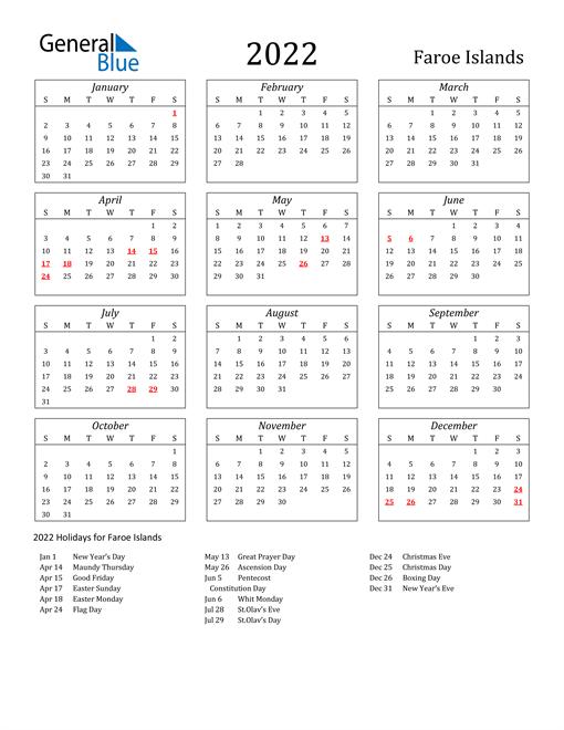 2022 Faroe Islands Holiday Calendar