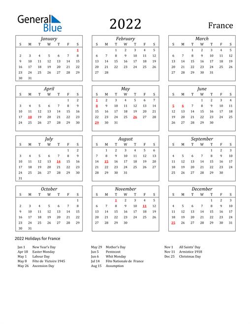 2022 France Holiday Calendar