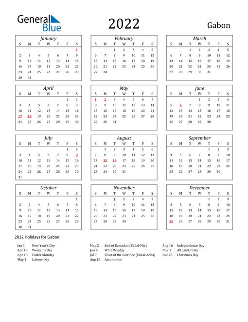 2022 Gabon Holiday Calendar