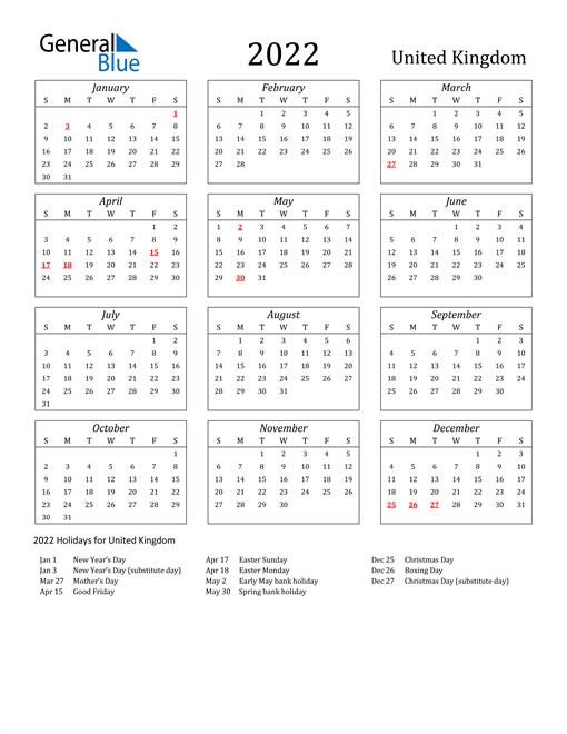 2022 United Kingdom Holiday Calendar