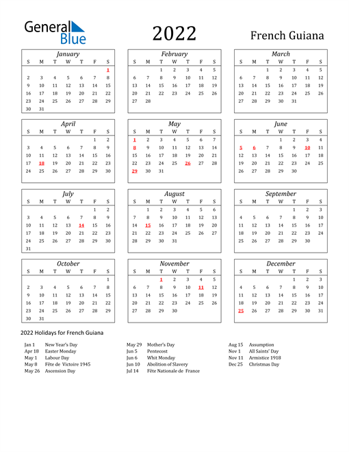 2022 French Guiana Holiday Calendar