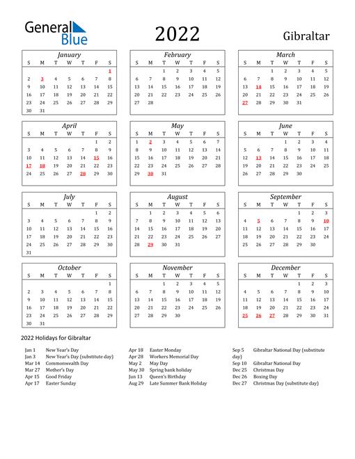 2022 Gibraltar Holiday Calendar