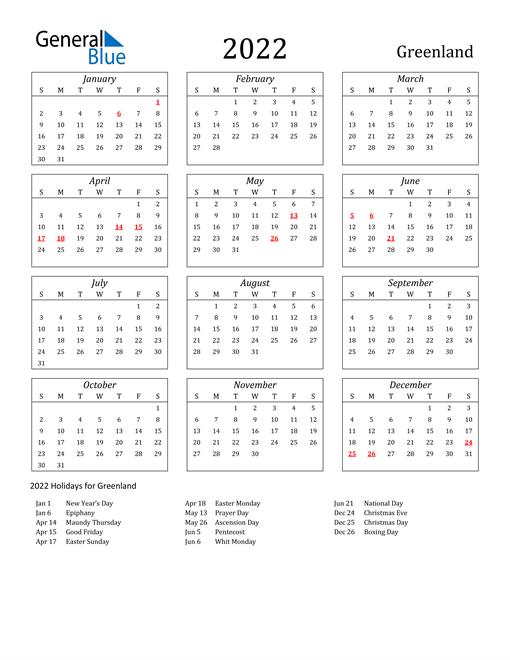 2022 Greenland Holiday Calendar