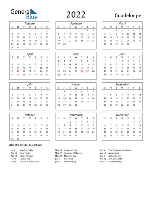 2022 Guadeloupe Holiday Calendar