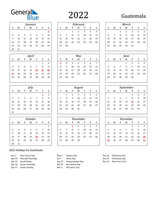 2022 Guatemala Holiday Calendar