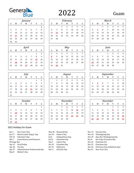 2022 Guam Holiday Calendar